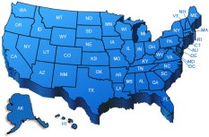 US Map in Blue